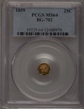 California Fractional Gold: , 1859 25C Liberty Octagonal 25 Cents, BG-702, R.3, MS64 PCGS. PCGSPopulation (74/16). NGC Census: (10/29). (#10529)...
