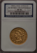 Liberty Eagles, 1850 $10 Large Date XF45 NGC. Broken Shield. Ex: SSRepublic. NGC Census: (83/224). PCGS Population (38/93).Mintage: 2...