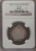 Bust Half Dollars: , 1807 50C Large Stars, 50 Over 20 VF25 NGC. O-114. NGC Census:(18/313). PCGS Population (28/249). Mintage: 750,500. Numism...