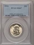 Washington Quarters: , 1934 25C Medium Motto MS67 PCGS. PCGS Population (75/1). NGCCensus: (63/0). Mintage: 31,912,052. Numismedia Wsl. Price for...