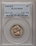Jefferson Nickels: , 1949-D/S 5C MS66 PCGS. PCGS Population (46/1). NGC Census: (12/0).Mintage: 36,498,000. Numismedia Wsl. Price for problem f...