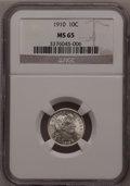Barber Dimes: , 1910 10C MS65 NGC. NGC Census: (57/34). PCGS Population (63/30). Mintage: 11,520,551. Numismedia Wsl. Price for problem fre...