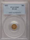 California Fractional Gold: , 1853 50C Liberty Round 50 Cents, BG-421, R.4, MS62 PCGS. PCGSPopulation (25/39). NGC Census: (4/5). (#10457)...