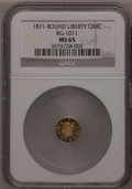 California Fractional Gold: , 1871 50C Liberty Round 50 Cents, BG-1011, R.2, MS65 NGC. NGCCensus: (12/8). PCGS Population (24/14). (#10840)...
