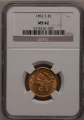 Liberty Half Eagles: , 1892-S $5 MS62 NGC. NGC Census: (57/11). PCGS Population (59/29).Mintage: 298,400. Numismedia Wsl. Price for problem free ...