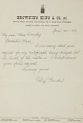 Autographs:Letters, 1943 Chief Bender Handwritten Signed Letter....