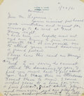 Autographs:Letters, 1961 Ty Cobb Handwritten Signed Letter....