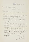 Autographs:Letters, 1939 Ty Cobb Handwritten Signed Letter....