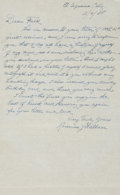 "Autographs:Letters, 1958 Roderick ""Bobby"" Wallace Handwritten Signed Letter...."