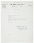 Autographs:Letters, 1942 Rogers Hornsby Signed Letter....