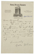 Autographs:Letters, 1934 Walter Johnson Handwritten Signed Letter....