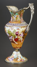 Silver Holloware, Continental:Holloware, A VIENNESE ENAMEL ON COPPER, SILVER, AND SILVER GILT EWER. Unknownmaker, Vienna, Austria, circa 1890. Unmarked. 7-1/2 x 4-1...