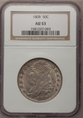 Bust Half Dollars: , 1808 50C AU53 NGC. NGC Census: (34/170). PCGS Population (33/151).Mintage: 1,368,600. Numismedia Wsl. Price for problem fr...
