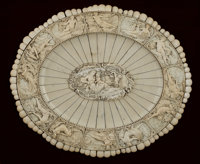 A GERMAN CARVED AND APPLIED OVAL IVORY CHARGER Maker unknown, Germany, circa 1870-1890 Unmarked 0-1/2 x 18-3