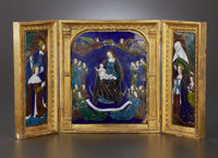 A FRENCH ENAMEL ON COPPER TRIPTYCH Maker unknown, probably Limoges, France, circa 1850 Unmarked 11-3/4 x 20-