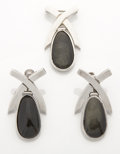 Silver Smalls:Other , A MEXICAN SILVER AND OBSIDIAN BROOCH AND EARRING SET. AntonioPineda, Taxco, Mexico, circa 1955. Marks: (Antonio crown). 1-5...(Total: 3 Items)