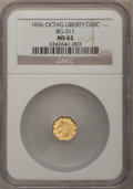 California Fractional Gold: , 1856 50C Liberty Octagonal 50 Cents, BG-311, Low R.4, MS62 NGC. NGCCensus: (8/5). PCGS Population (31/25). (#10436)...