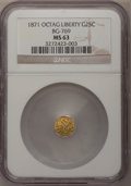 California Fractional Gold: , 1871 25C Liberty Octagonal 25 Cents, BG-769, R.5, MS63 NGC. NGCCensus: (3/0). PCGS Population (8/6). (#10596)...