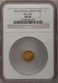 California Fractional Gold: , 1853 $1 Liberty Octagonal 1 Dollar, BG-530, R.2, AU58 NGC. NGCCensus: (16/38). PCGS Population (104/89). (#10507)...