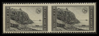 7c National Parks, Horizontal Pair, Imperforated Vertically, with Gum (746a)
