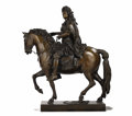 Bronze:European, A Bronze Equestrian Figure of Louis XIV. After François Giradon(1636-1711), French. 19th century. Bronze . Unmarked. 43 ...