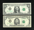 Error Notes:Ink Smears, Fr. 1906-E $1 1969D Federal Reserve Note. Choice CU.... (Total: 2notes)