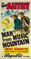 "Movie Posters:Western, The Man From Music Mountain (Republic, 1938). Three Sheet (41"" X 81""). ..."