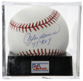 "Autographs:Baseballs, Andre Dawson ""77 ROY"" Single Signed Baseball, PSA Mint+ 9.5. TheCubs superstar makes note of his NL ROY award beneath his s..."