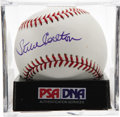 Autographs:Baseballs, Steve Carlton Single Signed Baseball, PSA Mint+ 9.5. Lefty'sperfect signature resides on an orb nearly as pristine. Ball ha...