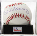 Autographs:Baseballs, Eddie Murray Single Signed Baseball, PSA Mint+ 9.5. The Hall ofFamer and 500 Home Run Club member Eddie Murray has produced...