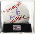 Autographs:Baseballs, Nolan Ryan Single Signed Baseball, PSA Mint 9. tough Texas hurlergives us this OML ball adorned with an excellent sweet spo...