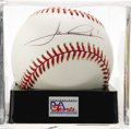 Autographs:Baseballs, Mario Andretti Single Signed Baseball, PSA Mint 9. The race legendmakes his desirable signature available on the offered ON...