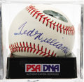 Autographs:Baseballs, Ted Williams Single Signed Baseball, PSA NM-MT+ 8.5. Stunninglyelegant Ted Williams signature makes its home on the provide...