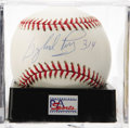 "Autographs:Baseballs, Gaylord Perry ""314"" Single Signed Baseball, PSA Mint 9. The Hall ofFamer's career win total appears along with high-grade..."