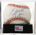"Autographs:Baseballs, Lee Smith ""478 Saves"" Single Signed Baseball, PSA Mint 9. Lee Smithhas left an inscription which makes note of his career s..."