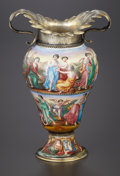 Decorative Arts, Continental:Other , AN VIENNESE ENAMEL ON COPPER AND SILVER GILT VASE . HermannRatzersdorfer, Vienna, Austria, circa 1880. Marks: (3,dog's...