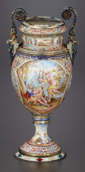 Silver Holloware, Continental:Holloware, A VIENNESE SILVER GILT, CLOISONNÉ ENAMEL AND ENAMEL ON COPPER VASE.Rudolf Linke, Vienna, Austria, circa 1880. Marks: RL, ...