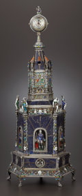 Silver Holloware, Continental:Holloware, A VIENNESE SILVER, LAPIS LAZULI AND ENAMEL TABLE CLOCK. HermannBohm, Vienna, Austria, circa 1880. Marks: (3, dog's head...