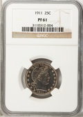 Proof Barber Quarters: , 1911 25C PR61 NGC. NGC Census: (2/172). PCGS Population (8/190). Mintage: 543. Numismedia Wsl. Price for problem free NGC/P...