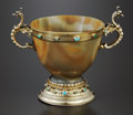 Silver Holloware, Continental:Holloware, A GERMAN AGATE AND SILVER GILT TWO-HANDLED CUP. Berthold H. Muller,Ludwig Neresheimer, Hanau, Germany, circa 1890. Marks:...