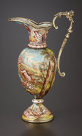 Silver Holloware, Continental:Holloware, A VIENNESE COPPER ON ENAMEL AND SILVER GILT MINIATURE EWER.Probably Jakob Wasserberger, Vienna, Austria, circa 1890. Marks:...