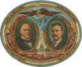 Political:3D & Other Display (1896-present), McKinley & Roosevelt: Large Oval Jugate Lithographed TinTray....
