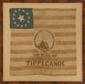"Political:Textile Display (pre-1896), William Henry Harrison: Classic 1840 ""Hero of Tippecanoe"" Silk Campaign Flag...."