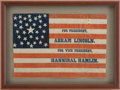 Political:Textile Display (pre-1896), Lincoln & Hamlin: Sought After 1860 Political Campaign Flag. ...