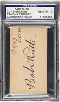 Autographs:Others, 1943 Babe Ruth Signed Blank Business Card, Graded PSA Gem Mint10....
