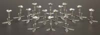 A SET OF SIXTEEN ITALIAN SILVER PLACE CARD HOLDERS WITH BUD VASE Maker unknown, Italian, circa 1950 Marks: 3