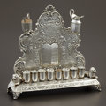 Silver Holloware, Continental:Holloware, A GERMAN SILVER MENORAH. Maker unidentified, Germany, 20th Century.Marks: (crescent) (crown) 800, WW(over)H (in hea...(Total: 8 Items)