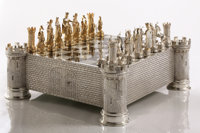 A GERMAN JEWEL ENCRUSTED SILVER AND BONE CHESS SET Unknown maker, Hannau. Germany, circa 1970 Marks: STERLIN