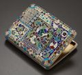 Silver & Vertu:Smalls & Jewelry, A RUSSIAN CLOISONNÉ ENAMEL, SILVER AND SILVER GILT CIGARETTE CASE. Maker unidentified, Moscow, Russia, 1908-1917. Marks: (de...