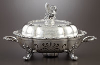 A GEORGE IV SILVER AND SILVER PLATE VEGETABLE SERVING DISH ON STAND Paul Storr, London, England, 1826-1827 Mar